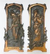 Art Nouveau coppered plaques
